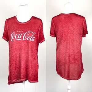 Vintage Look Burnout Red Coca-Cola T-Shirt